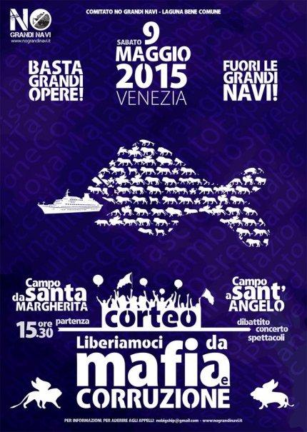 Locandina No grandi navi 9 maggio 2015 a Venezia